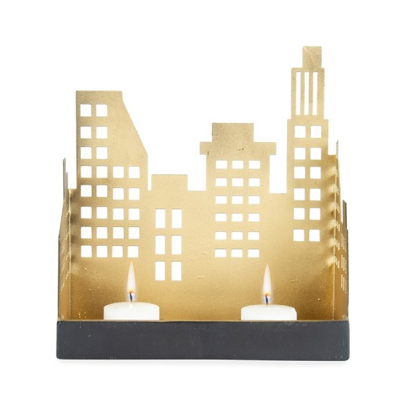 Silhouette Cityscape W/ 2 Candle Holder Lantern Tealight Lamp 17x18cm