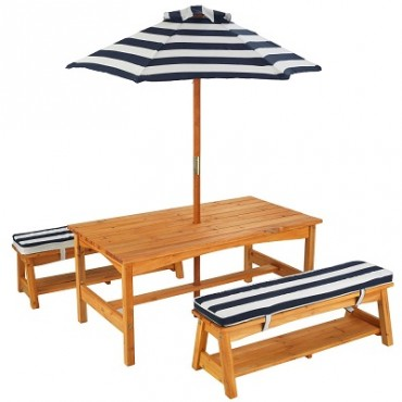 KIDKRAFT OUTDOOR TABLE N BENCH SET NAVY