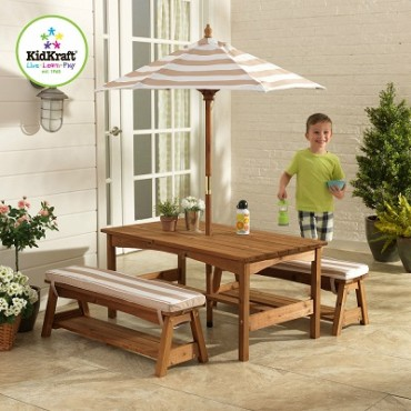 KIDKRAFT OUTDOOR TABLE N BENCH SET OATMEAL