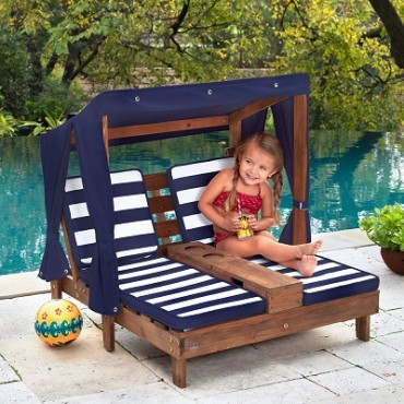 KIDKRAFT KIDS DOUBLE CHAISE LOUNGE NAVY