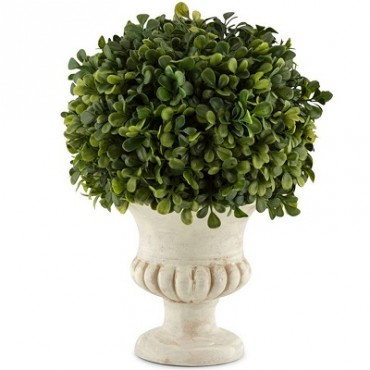 FRENCH SQUAT POTTED FAUX TOPIARY BALL