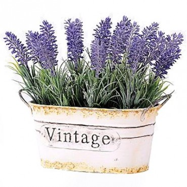 FAUX LAVENDER IN TIN POT