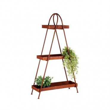 Large 3 Tier A Frame Shelf Unit Rack Stand Bookshelf Metal Rust Brown 35x160cm