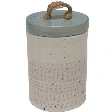 Ava Pottery Canister W/ Seal Lid Jar Sugar Tea Food Storage Stone Pastel 12x17cm