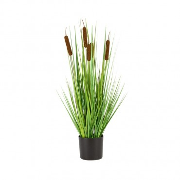 Faux Bulrush Plant In Pot Plant Tree Artificial Fake Floral Green 20x72cm