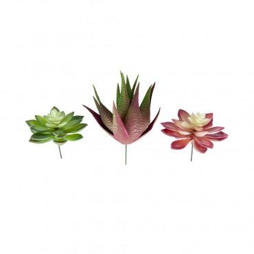 Set 3 Faux Medium Succulent Stem Assort Plant Tree Artificial Fake Floral 7x12cm