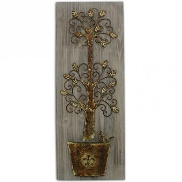 METAL TREE ON WOOD BASE WALL ART