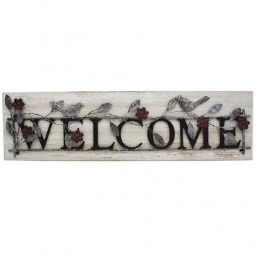 Welcome On Wood Base Hanging Screen Sign Metal 0 70x24cm