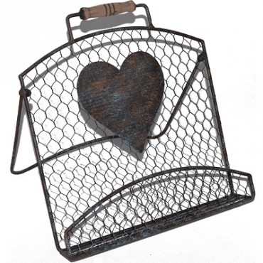 RECIPE HOLDER CHICKEN WIRE WITH HEART