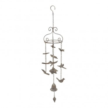 Bell W Butterfly Dragonfly Bird Hanger Chime Hanging Sign Decor Metal 16x88cm