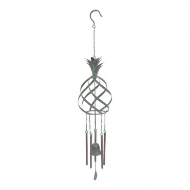 Pineapple Bell W Chime Hanger Chime Hanging Sign Decor Metal Blue 14x86cm