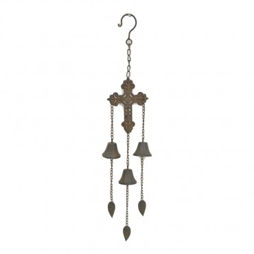 Hanging Cross W Bell Hanger Chime Hanging Sign Decor Metal Brown 10x57cm