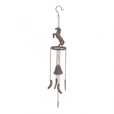 Rust Bell W/ Rearing Horse Metal Hanger Chime Hanging Sign Decor 10x77cm