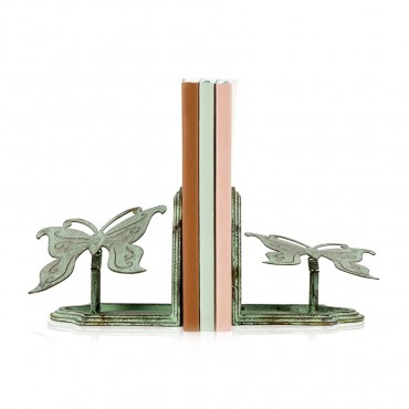 Set 2 Butterfly Bookends Figurine Decor Metal Antique Green 12x12cm