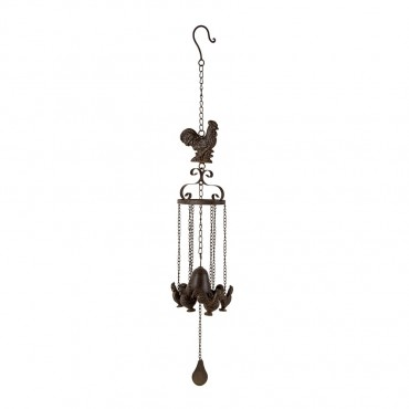 Cast Iron Bell W Hanging Chooks Hanger Chime Hanging Sign Decor Brown 12x82cm