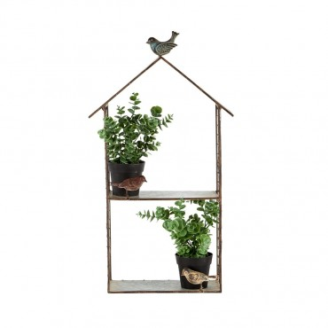 House Shape Wall Shelf W Birds Rack Stand Bookshelf Rust Metal 38x60cm