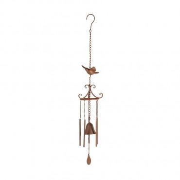 Hanging Bird Chimes W/ Bell Hanger Chime Cast Iron Rust 13x87cm