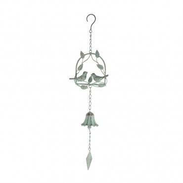 Lovebirds On Leafy Swing Hanging Bell Metal Hanger Chime Hanging Sign Decor 14x54cm