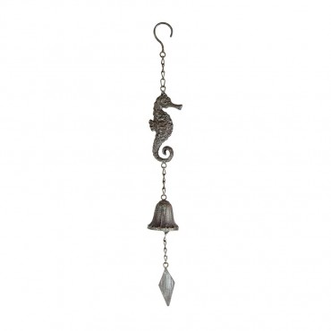 Sea Horse On Hanging Chain W/ Bell Hanger Chime Hanging Sign Decor 6x50cm