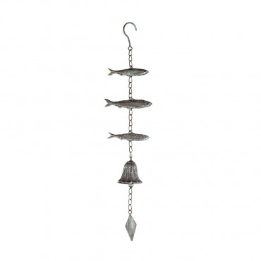 Hanging School Of Fish W  Bell Hanger Chime Hanging Sign Decor Metal 11x52cm