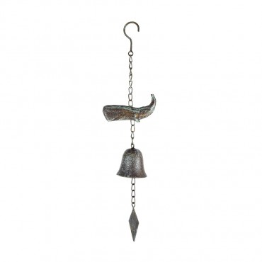 Whale On Hanging Chain W  Bell Hanger Chime Hanging Sign Decor Metal 11x45cm