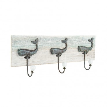 Three Whale Hooks On Wooden Backing Wall Mount Rack Holder Metal Timber 52x20cm