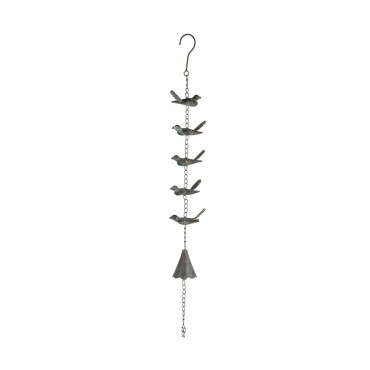 Hanging Flock Of Birds W  Bell Hanger Chime Hanging Sign Metal Brown 11x85cm