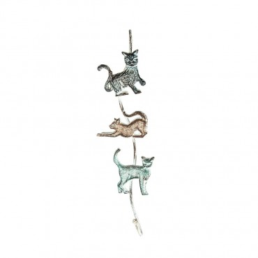 Three Posing Cats Hanger W  Hook Wall Mount Rack Holder Metal 10x38cm