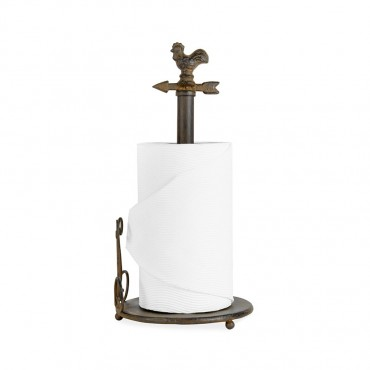 Paper Towel Holder W  Chook Kitchen Tower Stand Roll Rail Metal Brown 18x36cm