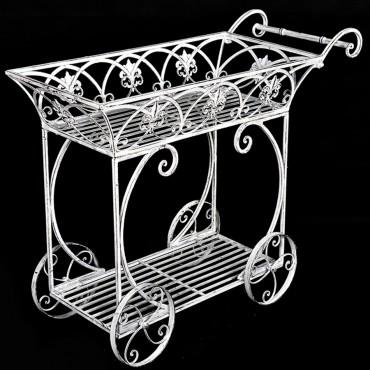 Martinique Cart Bar Cart On Wheel Table Metal White 92x75cm