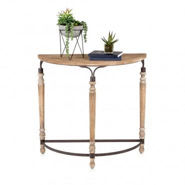 Galleria Half Round Console Table Hallway Hall Unit Metal Wood Natural 80x77cm