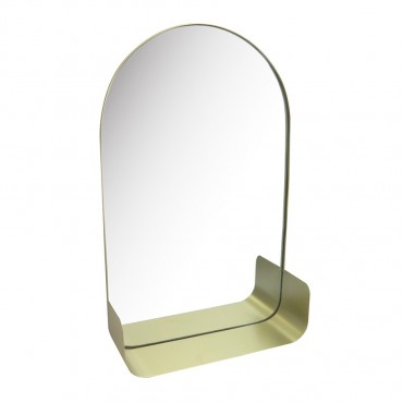 Gold Arch Slimline Mirror W/ Shelf Hanging Art Metal Glass Gold 33x53cm