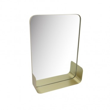 Rectangle Slimline Mirror W/ Shelf Hanging Art Metal Glass Gold 41x56cm