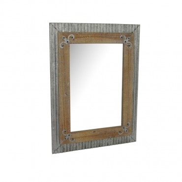 Industro Country Wall Mirror Hanging Art Galvanised Natural 50x70cm