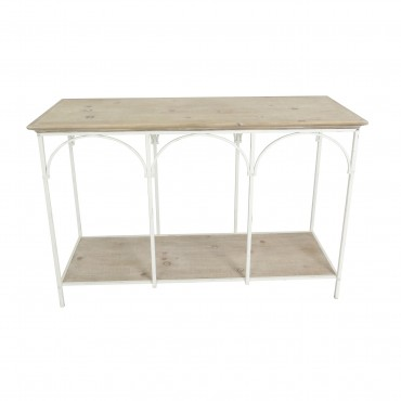 Fiore French Arched Console Table Hallway Hall Unit White Natural 110x80cm