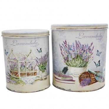 Set 2 Metal Lavender Tin Can Jar Sugar Tea Food Storage Metal 17x22cm
