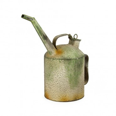 Vintage Oil Can Water Holder Container Storage Metal Distress Green 13x28cm