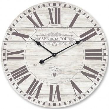 Large Cafe De La Tour Round Wall Clock Metal Fir Hanging Art Decor 70x70cm