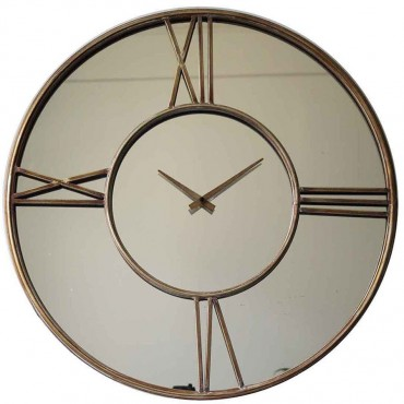 Contemporary Round Wall Clock W Mirror Hanging Art Decor Metal Brown 70x70cm