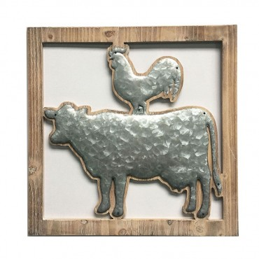 Cow And Chook Square Wall Art Hanging Screen Sign Metal Natural 50x50cm