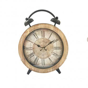 Large Cafe De La Tour Tabletop Clock W/ Faux Alarm Metal Hanging Art Decor 26x32cm