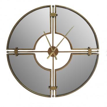 Large Aura Mirrored Round Wall Clock Metal Hanging Art Decor 70x70cm