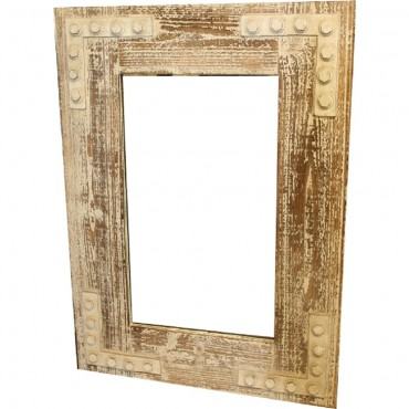 Rectangle Wall Mirror Hanging Art Framed Bathroom Timber Sanded 60X80Cm