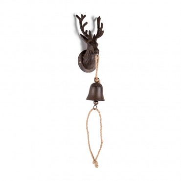 Caribou Wall Bell Hanger Chime Hanging Sign Decor Metal Rust Brown 11x80cm