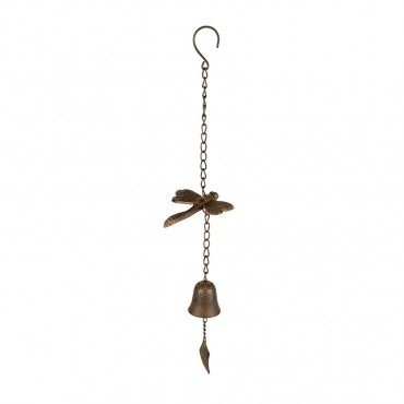 Dragonfly Bell Hanger Chime Hanging Sign Decor Metal Rust Brown 15x60cm
