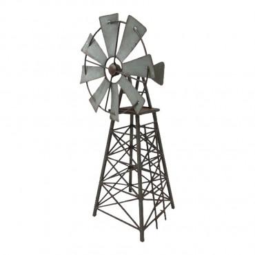 Galvanised Windmill Garden Statue Sculpture Ornament Galvanise Rust 19x42cm