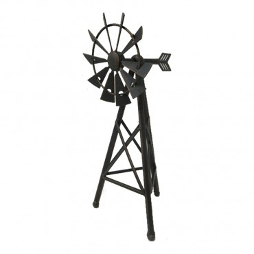 Decorative Windmill Garden Statue Sculpture Ornament Metal Black 11x25cm