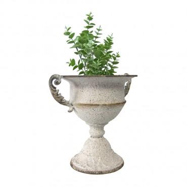 Weathered Vintage Urn Metal Plant Flower Fruit Holder 30x26cm