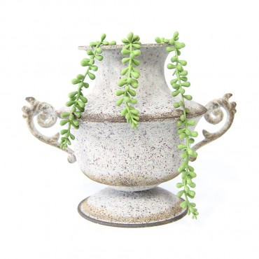 Weathered Squat Urn Urn Plant Fruit Holder Metal White Rust 28x23cm