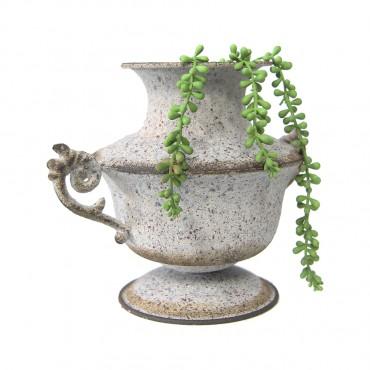 Weathered Vintage Squat Urn Metal Plant Flower Fruit Holder 29x24cm
